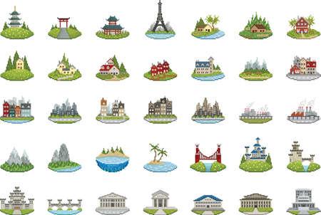 ピクセルの建物のコレクション