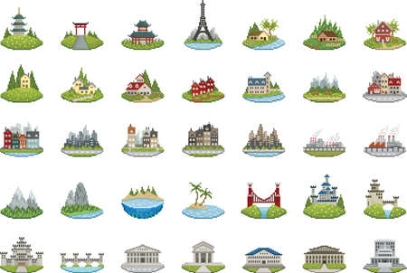 collection of pixel buildings