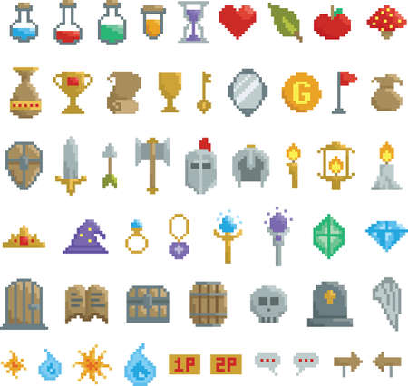 collection of pixel game items