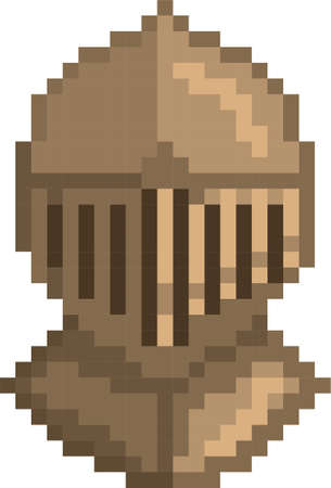 pixel steel helmet Illustration