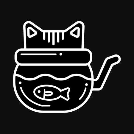 金魚鉢と猫  イラスト・ベクター素材