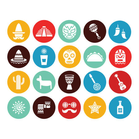set of mexican theme icons Illustration