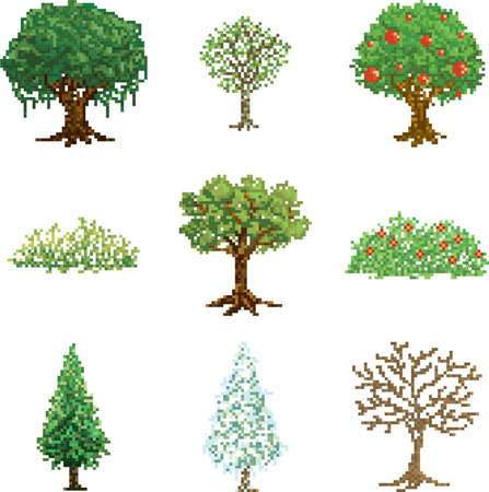 collection of pixel trees