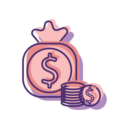 bag of money and coins Illustration