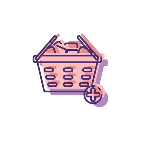 add item to shopping basket symbol Illustration