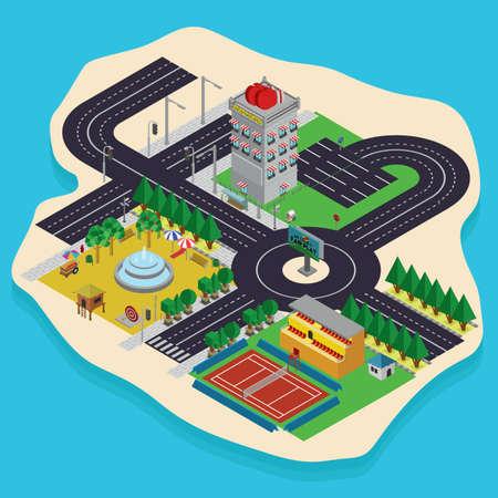 等尺性都市計画設計  イラスト・ベクター素材