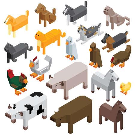 collection of farm animals Illustration