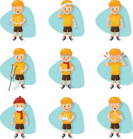 set of sick boys Illustration