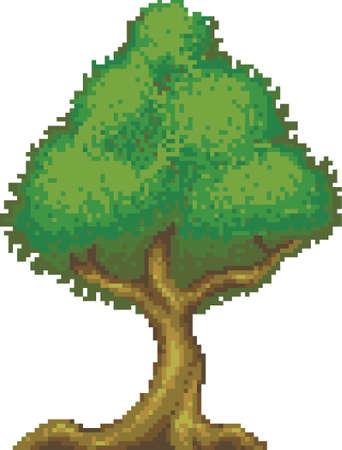 pixel green tree