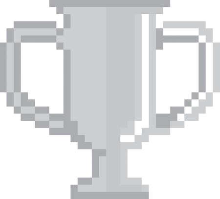 pixel silver trophy