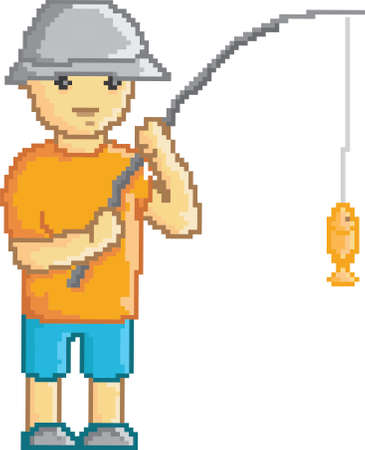 boy holding fishing rod