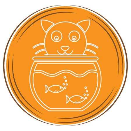 cat with a fish bowl Иллюстрация