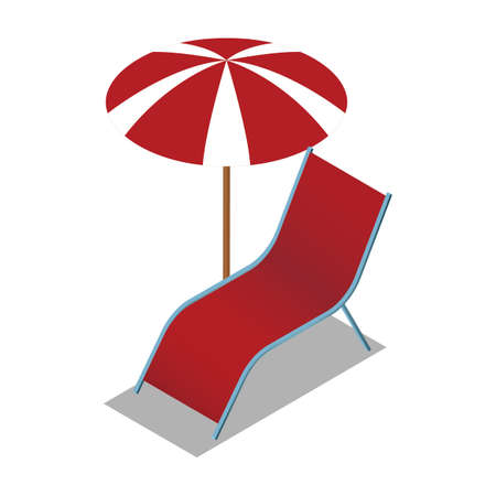 beach chair and umbrella Illustration