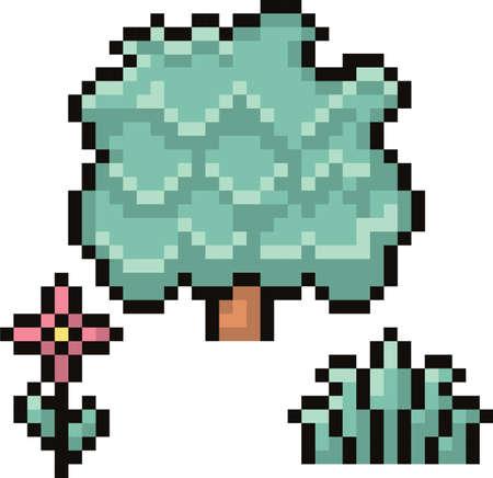 꽃과 수풀이있는 나무