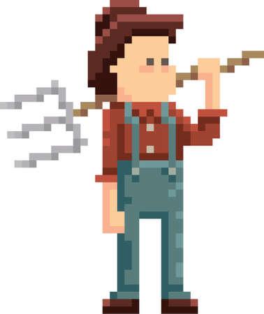 pixel farmer with pitchfork Illustration