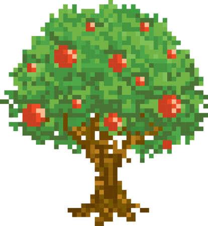 Pixel grüner Baum Standard-Bild - 79145786