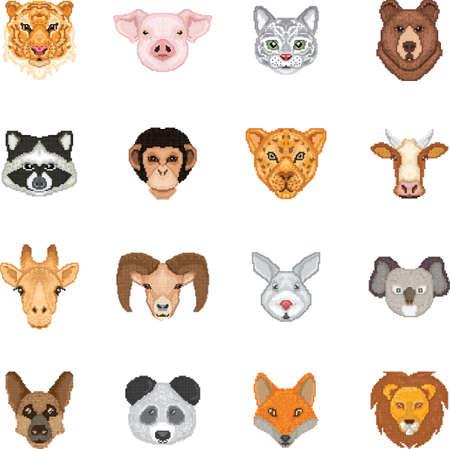 動物ピクセル芸術のセット  イラスト・ベクター素材