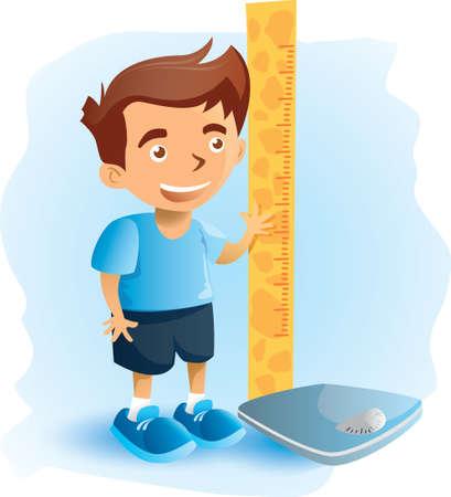 体重のスケールと高さの定規を持つ少年
