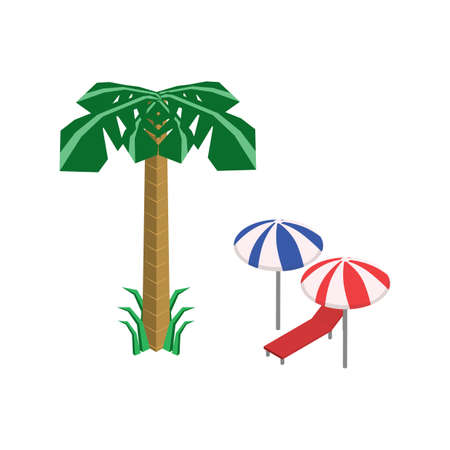palm tree with beach chair and umbrellas