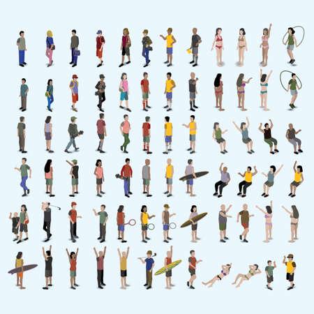 様々 な等尺性人々 のセット 写真素材 - 79218267
