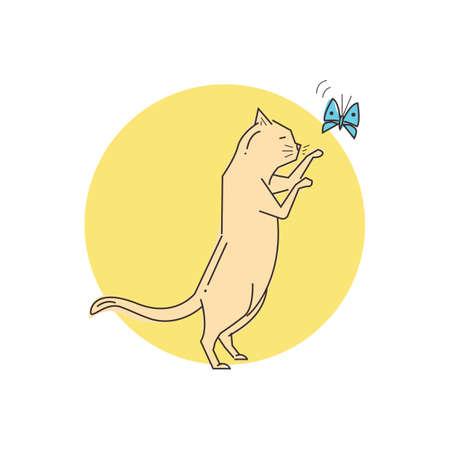 Katze spielt mit Schmetterling Standard-Bild - 79218266