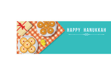 happy hanukkah banner Ilustrace