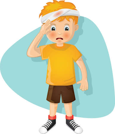 boy with injured forehead Illustration