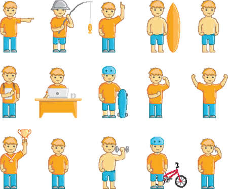 set of pixelated boy and activities
