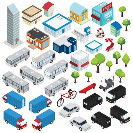 isometric of city icons