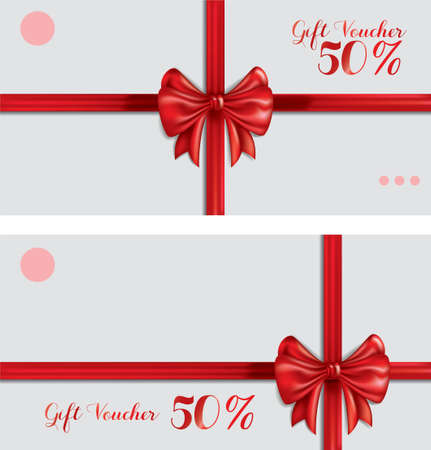 gift vouchers with ribbon Stock Vector - 79145962