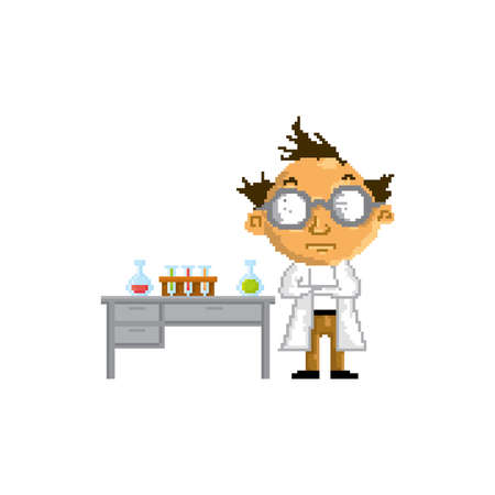 pixel art scientist Ilustrace