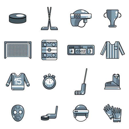 set of ice hockey icons