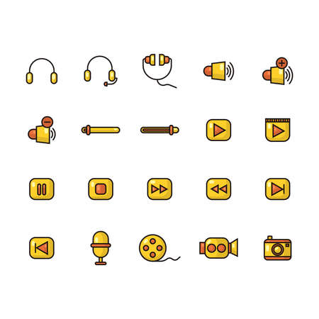 set of audio and video icons Illustration
