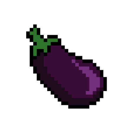 pixel art brinjal Illustration