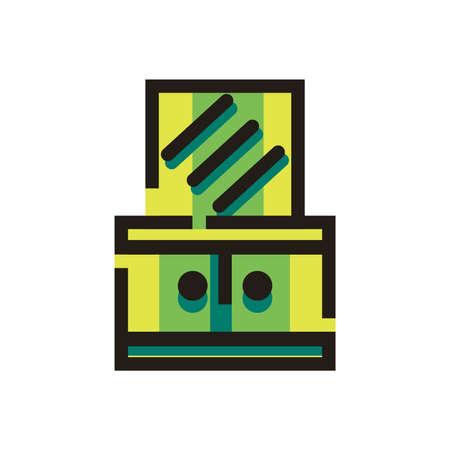 ドレッシング テーブル ミラー付き  イラスト・ベクター素材