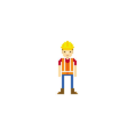 pixel art construction worker Illustration
