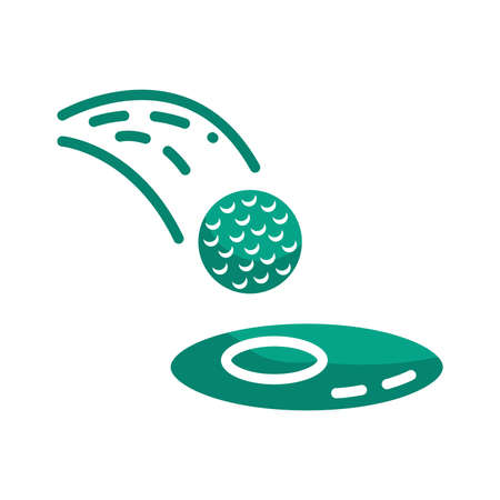 golf ball entering the hole Illustration