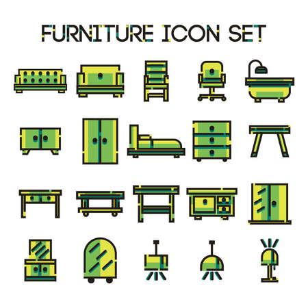 set van meubels iconen