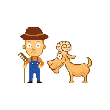 pixel art of farmer with goat 向量圖像