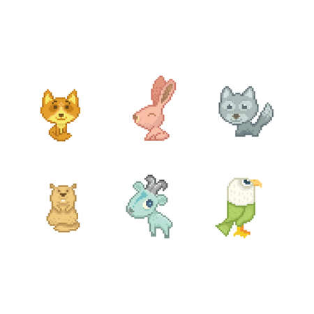 collection of pixel art animals