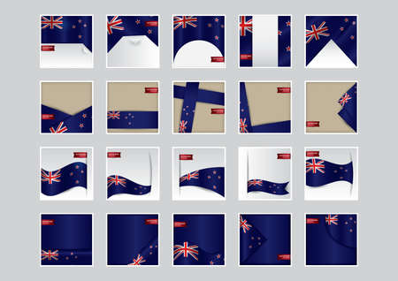 set of new zealand flag icons Stok Fotoğraf - 106675227