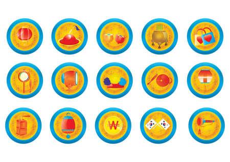 Reihe von koreanischen kulturellen Symbole Standard-Bild - 79811811