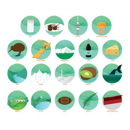 Set von neuseeland Symbole Standard-Bild - 79809229