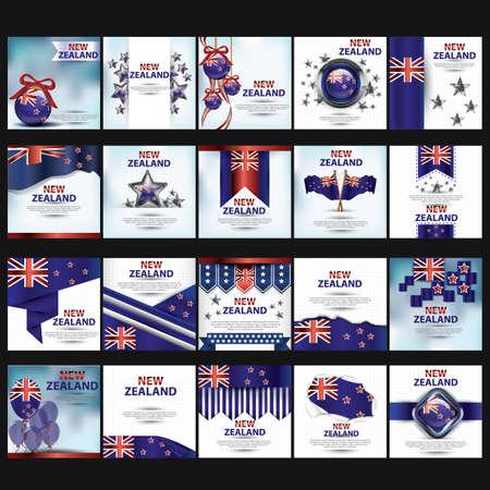set van Nieuw-Zeelands sjabloon pictogrammen