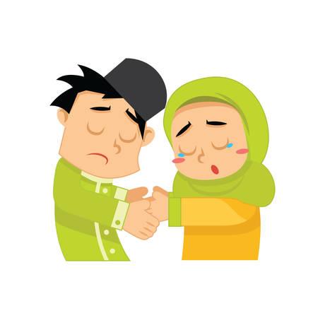 이슬람 소년과 소녀 악수 일러스트