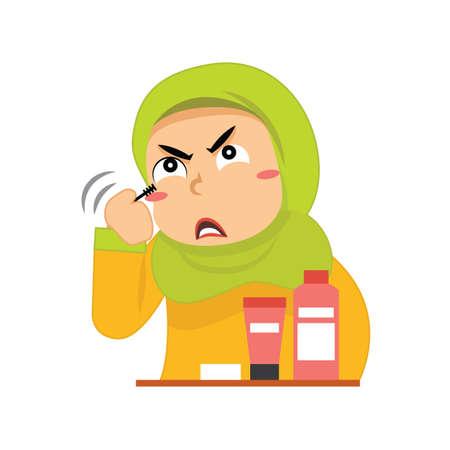 muslim girl putting on makeup Illustration
