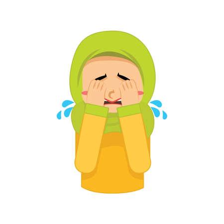 イスラム教徒の少女が泣いています。  イラスト・ベクター素材