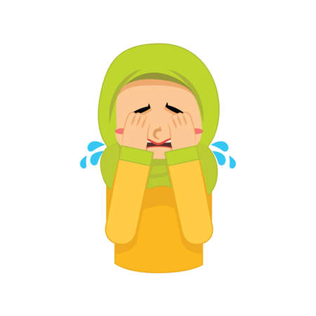 muslim girl crying Illustration