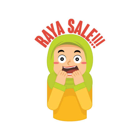 muslim girl excited about raya sale