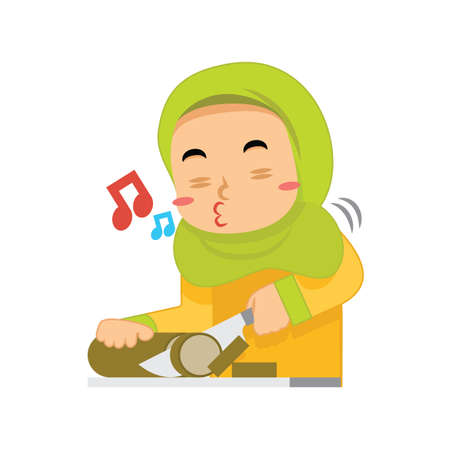 muslim girl whistling and slicing lemang Illustration